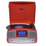 Toca Discos Raveo Jazz Vermelho Bluetooth Usb E Sd Fm Cd Pl