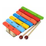 Xilofone Infantil Pedagógico 7 Notas Colorido C/ 2 Baquetas