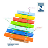Xilofone Lira Musical Infantil Mdf Montessori Colorido
